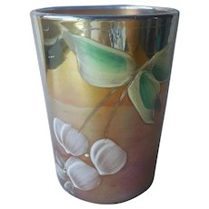 Carnival Glass Tumbler Blue Enameled White Cherries Green Leaves Antique