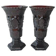 Avon Ruby Glass Cape Cod Vase Pair 2 Vintage 8 Inch