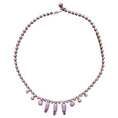 Pink Opaque Glass Rhinestones Choker Necklace Vintage 1950s