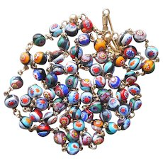 54 Inch Millefiori Glass Beads Necklace On Wire Vintage Italy