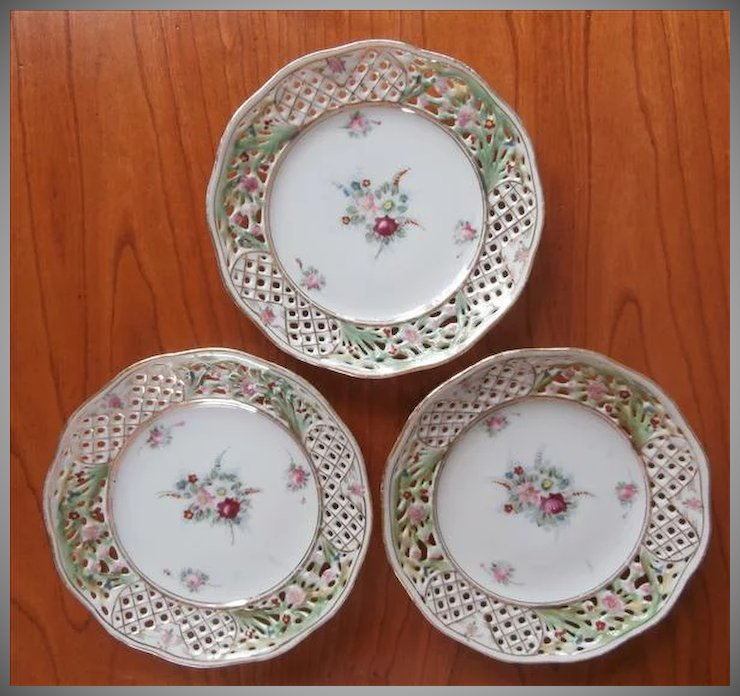 3 Nippon China Dresden Flowers Bread Plates Pierced Vintage Hand ...