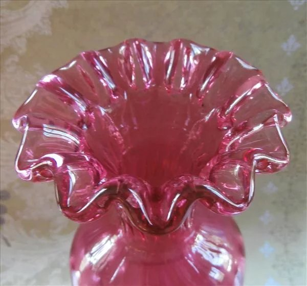 Cranberry Fenton Vase Vintage Pinched Crimped Pink Ruffled Glass Mercy Maude Ruby Lane