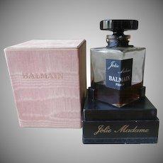 Balmain Jolie Madame 2 Ounce Vintage Perfume Bottle  Box Glass Stopper