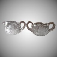 Sugar Bowl Creamer Antique Heavy Glass Pressed Engraved Cut