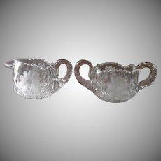Sugar Bowl Creamer Antique Heavy Glass Pressed Engraved Cut