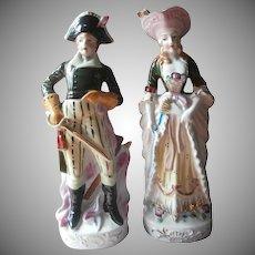 Pair Tall Figurines Vintage Japan China Lord Nelson Lady Hamilton