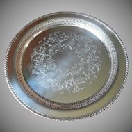 Silver Tray Pierced Round Vintage For Tea Set or Serving Oneida