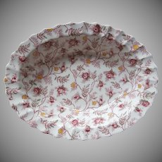 Spode Rosebud Chintz Oval Serving Bowl Vintage Copeland