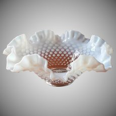 Fenton French Opalescent Hobnail Ruffled Bowl Vintage Fruit Centerpiece
