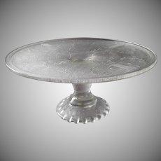 Cake Pedestal Stand Jeannette Harp Vintage Glass Ruffle Foot Plain Edge