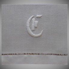 Monogram G Antique Towel Or Runner Linen Cotton Blend ca 1910