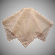 Madeira Tea Tablecloth Fine Pale Yellow Linen Handsome Hemstitiching Gridwork