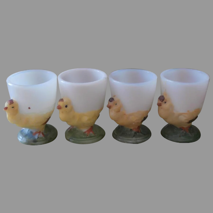 Egg Cups Hand Painted Milk Gl