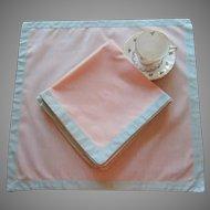 Napkins Peach Cotton Green Frames Vintage Set 6 Perfect For Summer