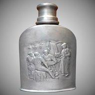 Flask Italian Pewter Vintage Italy Pocket Liquor Mid Century