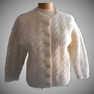 1960s Mohair Italy Sweater Cardigan Classic Ivory