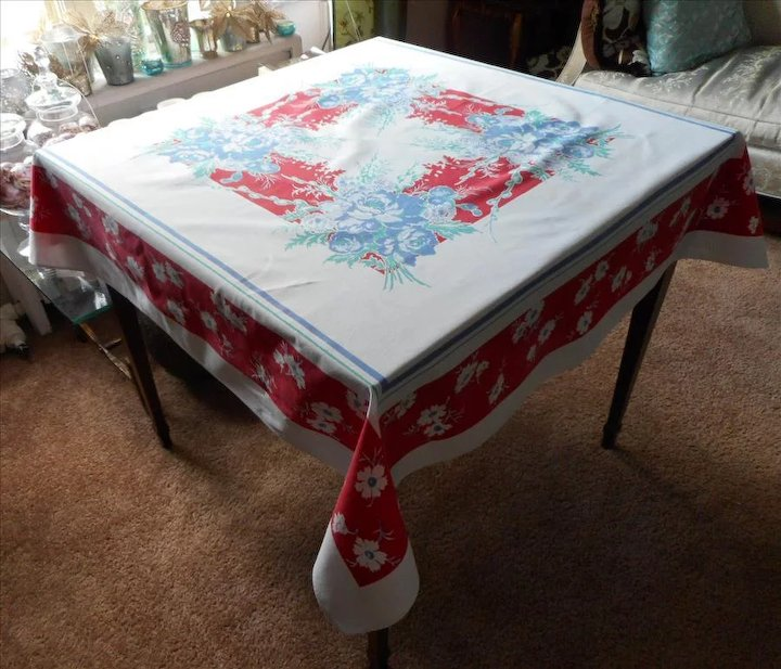 Printed Tablecloth Vintage Cotton Kitchen Print Red White Blue
