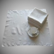 French Napkins Monogram R V Vintage 1920s Art Deco Set 10