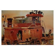 Robert E. Wood  Tug Boat at Dock   14x20 image size