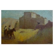 "Charles Percy Austin  ""Riders near a Pueblo"""