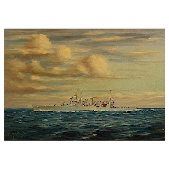 "Oliver Houston  ""Pre World War 2 battleship"" circa 1935"