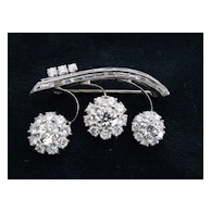 Lovely 14 Karat White Gold Diamond Brooch
