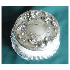 Great Art Nouveau Powder Jar,Sterling Top, Matching Puff.