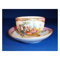 Dresden Cup and Saucer Signed AR, Helena Wolfsohn