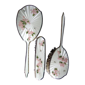 Sterling Silver Guilloche Three Piece Vanity Set With Bees