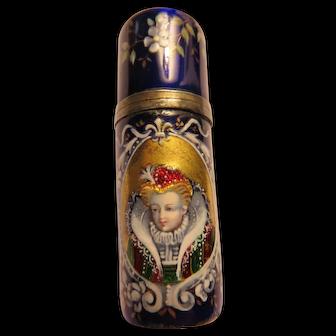 Antique Cobalt Enameled Perfume Exquisite Lady.