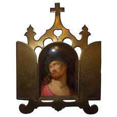 Antique Brass Triptych Oil on Porcelain Plaque Jesus
