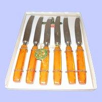 Set of 6 Dessert Knives in Box French Bakelite