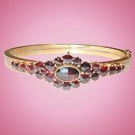Antique Victorian Bohemian Garnet Bracelet Bangle