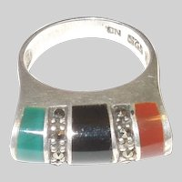 Vintage High Profile Sterling Silver, Onyx, Carnelian Ring