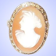 Vintage Shell Cameo 10K Yellow Gold Ring Size 5