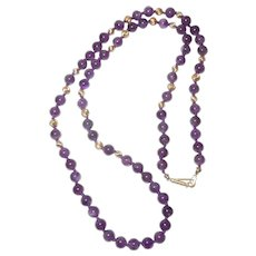 Vintage Amethyst and 14k Beaded Necklace