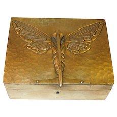 European Art Nouveau Brass Cigarette/Cigar Box