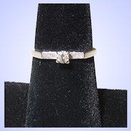 Vintage 14K White Gold and Diamond Engagement Ring