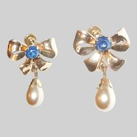 Vintage Gold Filled Screw Back Bow Earrings