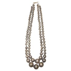 1940's Double Strand Silver Bead Necklace Mexico