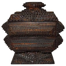 American Tramp Art Two Tiered Lidded Box C. 1900