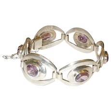 Vintage Sterling Silver and Amethyst Bracelet Mexico
