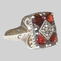Lovely Vintage Bohemian Garnet and Sterling Ring Size 7