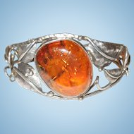 Natural Baltic Amber and Sterling Silver Bracelet