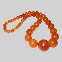 1950's Graduated Baltic Amber Bead Necklace