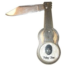 Vintage Patsy Cline Guitar Shaped Pocket Knife