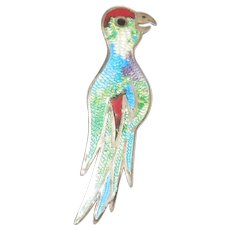 Vintage JF Enamel and Sterling Tropical Bird Taxco