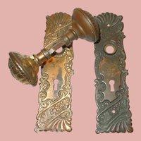 Victorian Bronze Door Knob and Key Plate Set