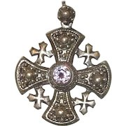 Sterling Silver Jerusalem Cross With Amethyst