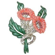 Art Deco Enamel and Rhinestone Floral Brooch